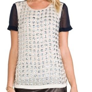 Gorgeous DVF bejeweled short sleeve blouse